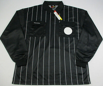 NWT FINAL DECISION Mens LG Soccer Referee Jersey Black White Stripe Long Sleeve