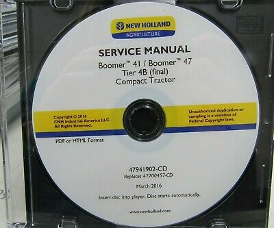New Holland Boomer 41 Boomer 47 Service Manual On Cd 47941902-cd