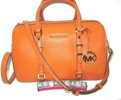 Michael Kors Bedford Legacy Medium Duffle Satchel Burnt Orange Leaather NWT $328