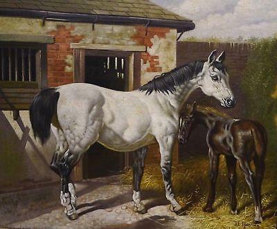 """""""White Horse Mare & Foal"""" Barn Scene J.F. Herring Signed Oil Painting"""