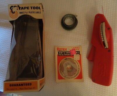 Tape Tool Label Maker Gun Vintage 1968 T68 W Orig Box Extra Labels Instructions
