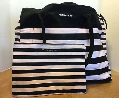 Victoria's Secret Weekend Travel Tote Bag & Cosmetics Bag Black White Striped - Black And White Striped Bag