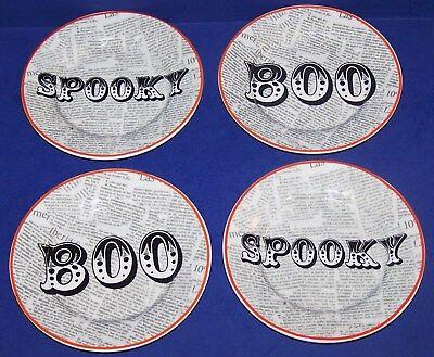 WONDERFUL SET OF 4 CIROA PORCELAIN WICKED HALLOWEEN SPOOKY/BOO APPETIZER - Halloween Spooky Appetizers