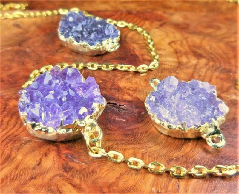 Bulk Wholesale Lot Of 5 Pieces - Amethyst Druzy Crystal Connector Gold - Pendant