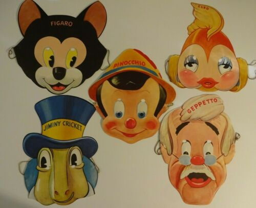 1939 GILLETTE PINOCCHIO SET OF 5 MASKS PINOCCHIO JIMINY GEPPETTO CLEO FIGARO