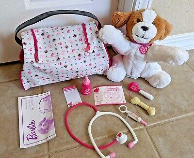 Barbie Hug n Heal Pet Doctor Vet Set Interactive Puppy Dog White & Brown