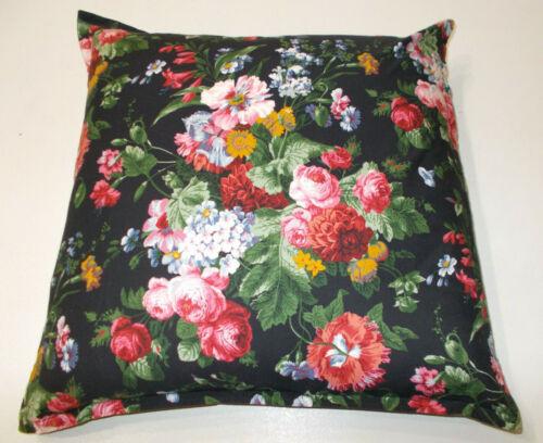 "Rare Ralph Lauren Cossette Isadora Black Floral Throw Pillow W Down Insert 20"""