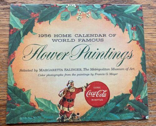 Antique 1956 Coca Cola Advertising Calendar Santa Christmas Floral Art