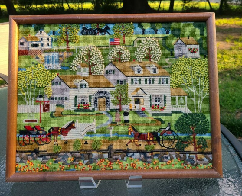 """AMAZING 1980~Country Sampler~New England Spring~Needlepoint  Picture 15"""" X 19"""""""