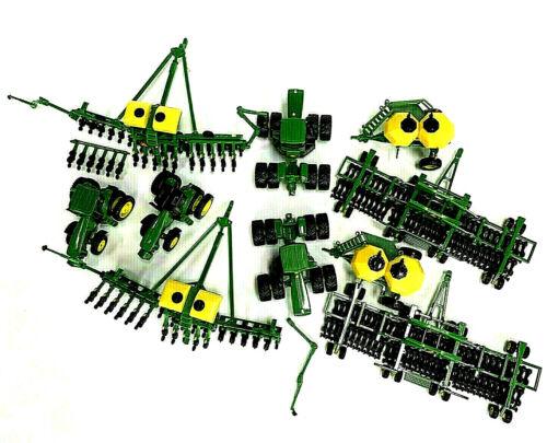 Vintage ERTL John Deere Diecast Farm Tractor Implements Green Toys 10 Piece Lot