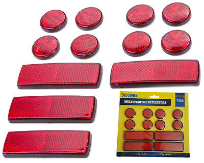 12 Muliti Purpose Red Light Reflectors Rear Trailer Reflector Disks Caravan Bike