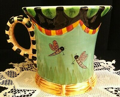 4 Unique Hand Painted Peggy Fairfax Herrick House of Hatten Dragonfly Pond Mugs