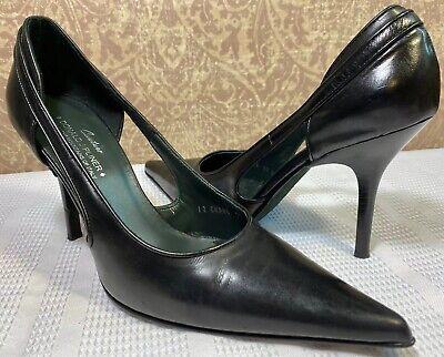 DONALD J PLINER Couture BLACK Leather High Heel Classic Pointy Dress Pump 10M US Donald J Pliner High Heel Pumps