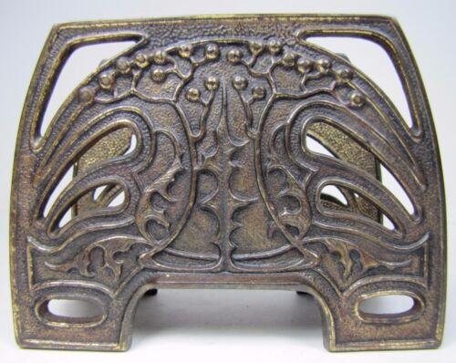 Antique Art Nouveau Decorative Arts Letter Holder Rack Cast Iron Brass Wash
