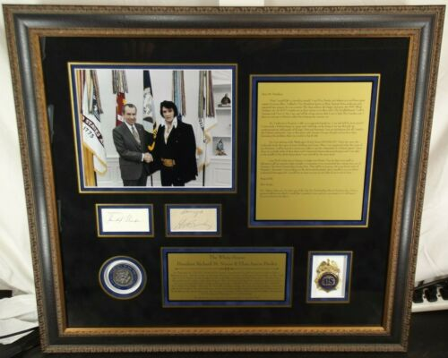 Elvis & Nixon White House Meeting Autograph Framed Display Authenticated JSA