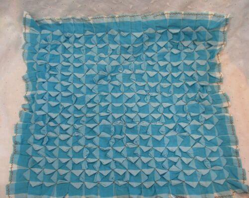 "Vintage 18"" Pintuck Tufted & Ruffle Throw Pillow Cover Aqua Blue Check Gingham"