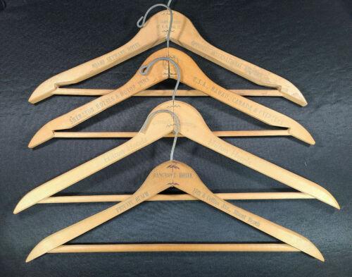 Lot 4 Vintage Wood Hotel Hangers ~ Hilton ~ Sheraton ~ Bancroft ~ Miami Hawaii