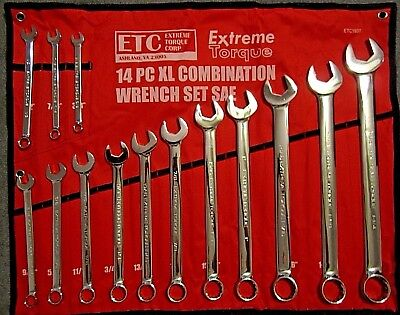 "14 pc Extra Long SAE Combination Wrench Set 3/8"" to 1-1/4"" XL Extreme Torque ETC"