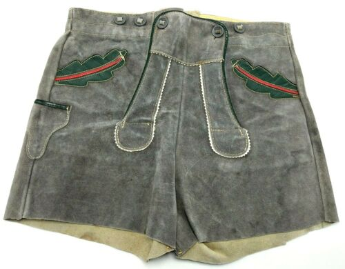 "Vintage Authentic German Oktoberfest Lederhosen Shorts Suede 28"" Child / Youth"