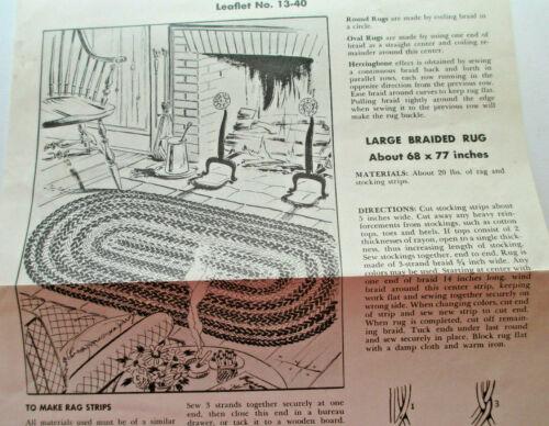 Vintage Braided Rag Rug Leaflet 13-40 & Making Yarn Rugs On Sewing Machine 1940s
