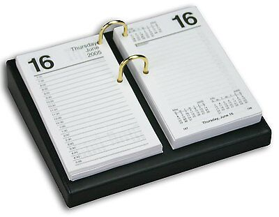 Dacasso Black Leather Desktop Calendar Holder With Gold Bolts 3.5-inch By 6-inc