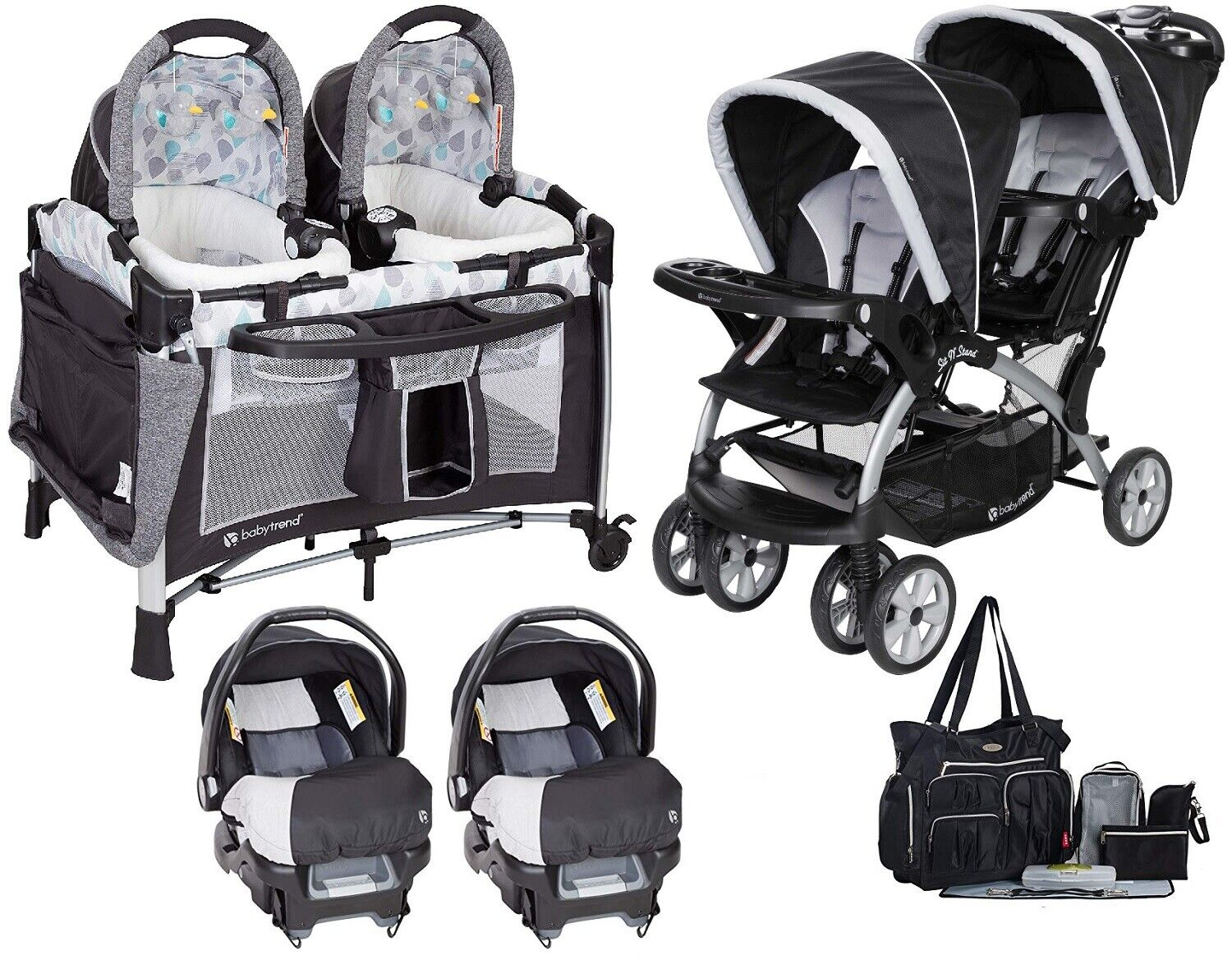 Baby Trend Double Stroller with 2 Matching Infant Car Seats