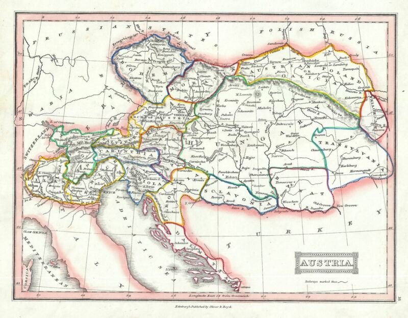 1845 Ewing Map of Austria