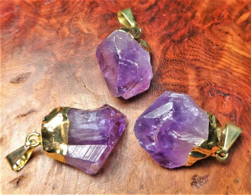Bulk Wholesale Lot Of 5 Pieces - Amethyst Crystal Raw Point Gold - Pendant