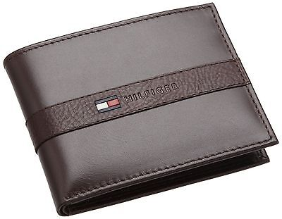 Tommy Hilfiger Men's Leather Wallet - Thin Sleek Casual Bifold with 6 Credit Card Pockets and Removable ID Window, Dark Brown
