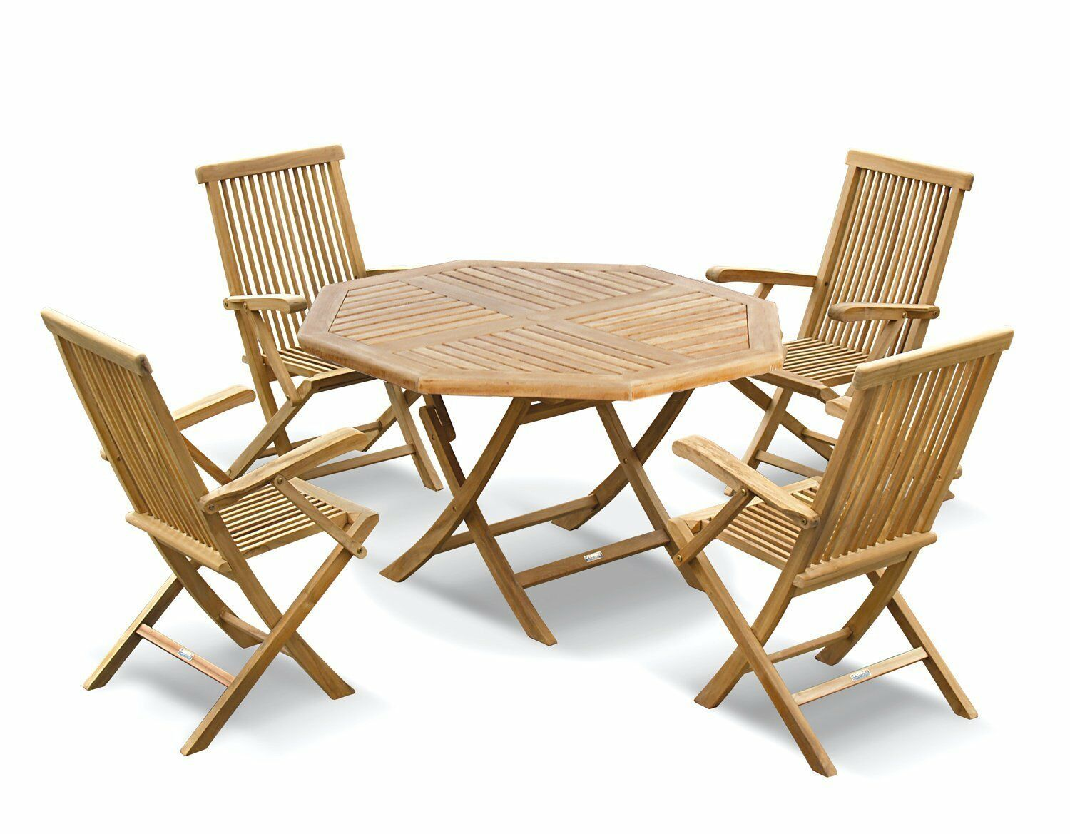 Picture of: Lymington Teak Outdoor Patio Set Folding Garden Table 1 2m 4 Dining Chairs Ebay