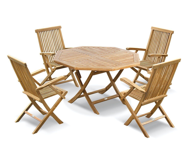 Lymington Teak Outdoor Patio Set Folding Garden Table 1 2m 4 Dining Chairs