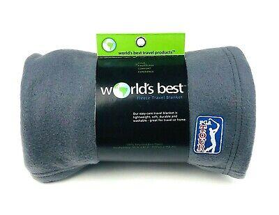 """World's Best PGA Tour Gray Fleece Travel Blanket 50"""" x 60"""" inch"""