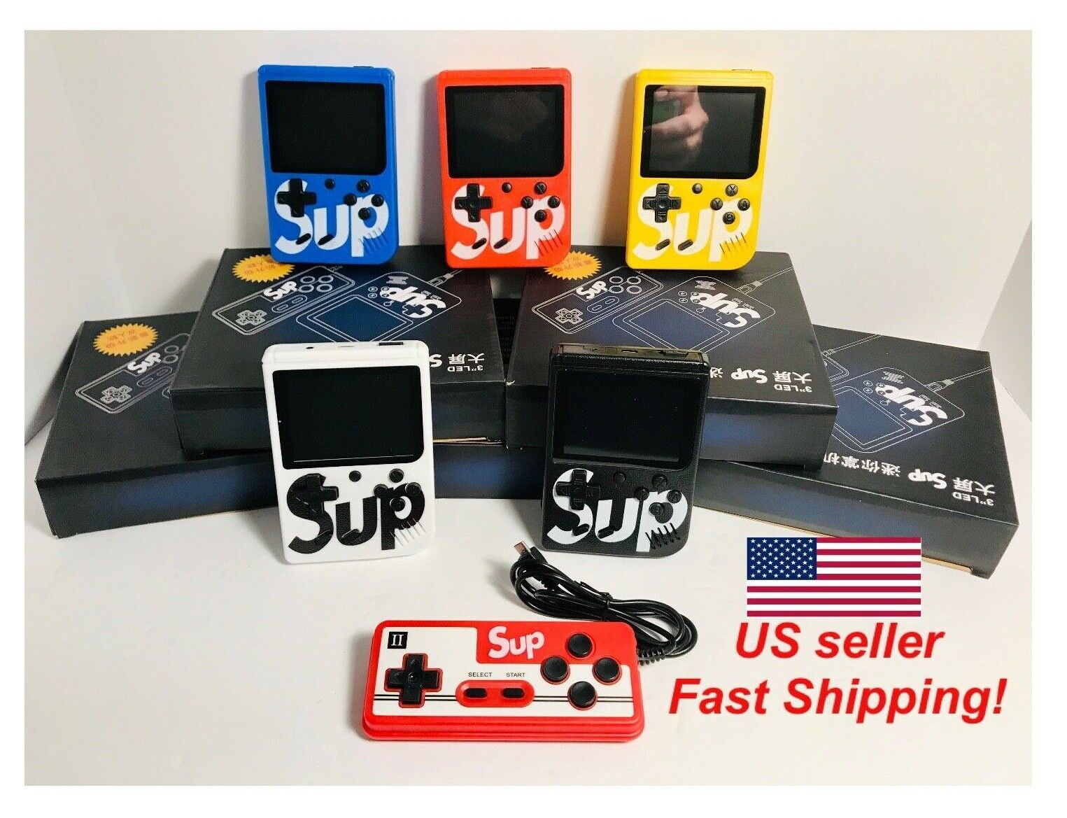 NEW SUP PLUS Retro FC Game Boy Handheld+400 Games TV Hookup+2 Player Controller!