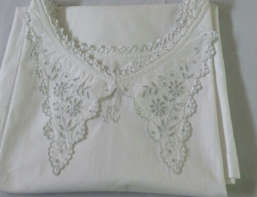 Antique French cotton eyelet lace nightgown  peasant shirt dress Monogram RC