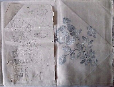 """Vtg T.B & Co Stamped Linen Embroidery 60"""" X 80"""" Tablecloth WIth A Floral Pattern"""