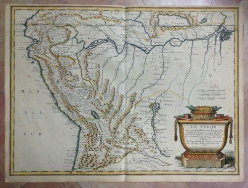 PERU 1656 NICOLAS SANSON UNUSUAL LARGE ANTIQUE MAP IN COLORS 17TH CENTURY
