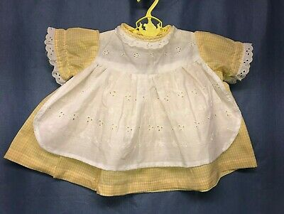Vintage Yellow Gingham Baby Girl Toddler Dress Size 6-9 Months Baby Doll Dress