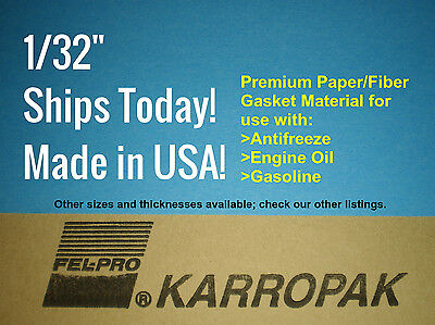 1/32 6x9 Paper Gasket Material Fel-Pro Engine Car Truck Carburetor Gas Oil