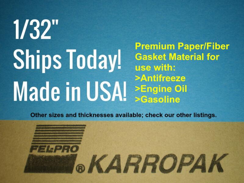 1/32 6x9 Paper Fiber Gasket Material Fel-Pro Engine Car Truck Carburetor Gas Oil
