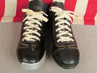 Vintage 1950s Schwarzes Leder Baseball Stollen Kannen Zehenkappe Shoes Sz 5.5 ()
