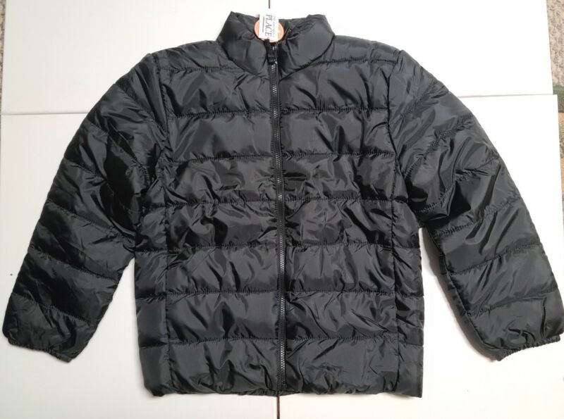 The Childrens Place Boys Black Large 10/12 Lightweight Puffer Coat  Jacket