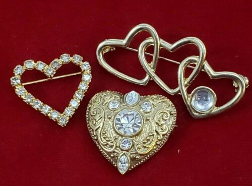 💕 Valentine  Heart Brooch Lot Gold Tone Bling Icy  Rhinestones Filigree