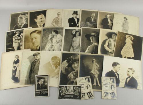 Large Lot 24 Original Signed Photos 1920s Vaudeville Musicians Actresses Pin-ups