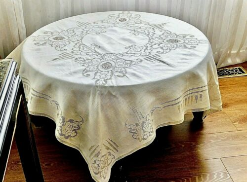 FABULOUS ANTIQUE HANDCRAFTED IVORY   LINEN ITALIAN TABLECLOTH C 1920