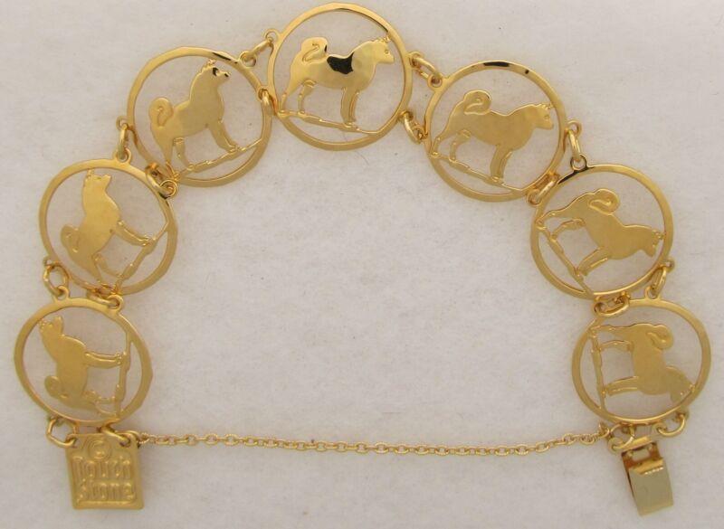 Akita Jewelry Gold Akita Bracelet by Touchstone Dog Designs