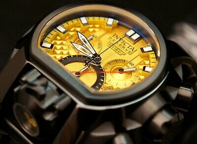 Invicta Reserve Mens Bolt Zeus Magnum 52mm Yellow Dial Swiss Strap Watch