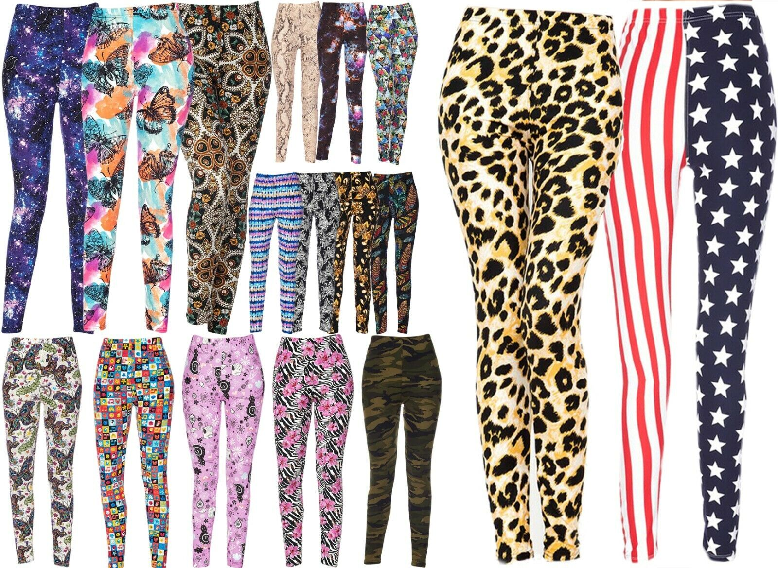 Women's Printed Brushed Buttery Soft Leggings Regular / Plus Size Clothing, Shoes & Accessories