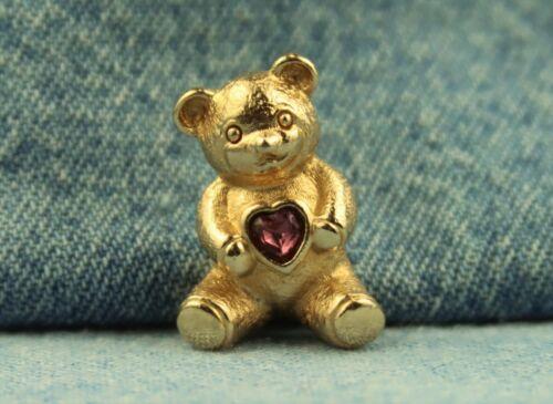 1985 Avon Personalized Teddy Bear Tack Pin Amethyst Rhinestone Heart February