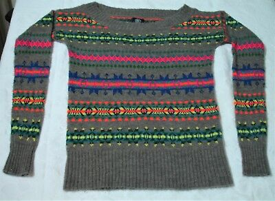 American Eagle Knit Sweater Fluorescent Nordic Boat Neck Long Sleeve Size S P