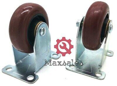 Qty-2 Caster 3 Wheels Rigid Non Swivel Plate Polyurethane Wheels